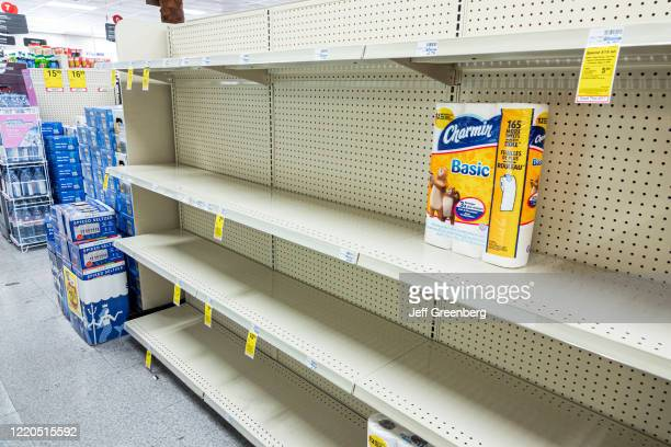 Miami Beach, CVS pharmacy, toilet paper aisle with only one item left.