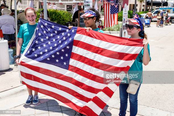 Miami Beach Fire on the Fourth Festival Girl scouts holding American flag