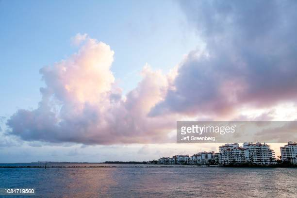 Miami Beach Fisher Island Government Cut at sunset