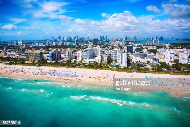 miami beach florida aerial - miami beach stock pictures, royalty-free photos & images