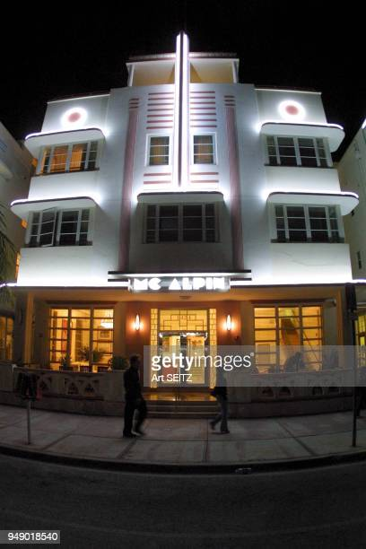 Miami Beach Florida Beautifully Illuminated McAlpin Art Deco Hotel on Ocean Drive
