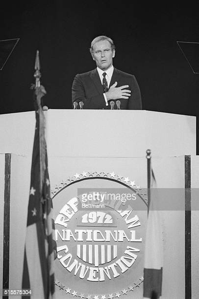 Miami Beach, Florida: Charleton Heston, actor, gives Pledge of Allegiance at the Republican National Convention. 8/23/72.