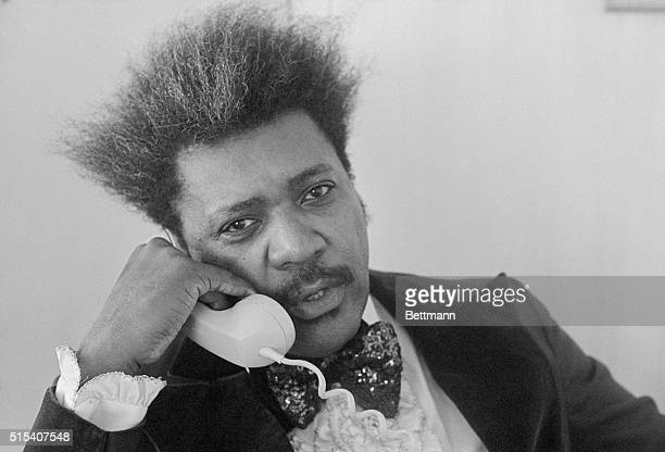 Fight promoter Don King chats with a reporter in his hotel room prior to leaving for the convention center The US Boxing Championships sponsored by...