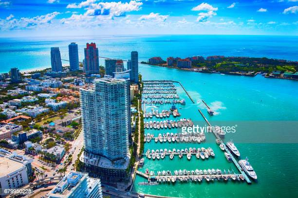 miami beach, florida from above - marina stock pictures, royalty-free photos & images