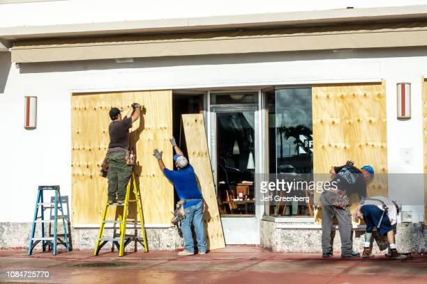 Miami Beach Hurricane Irma preparation boarding up windows