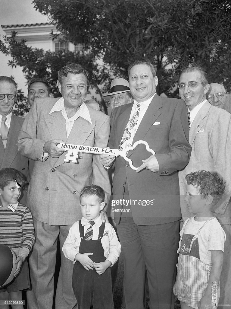 Babe Ruth Receiving Key to Miami Beach : News Photo