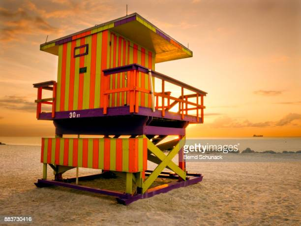 miami beach lifeguard station - bernd schunack stock pictures, royalty-free photos & images