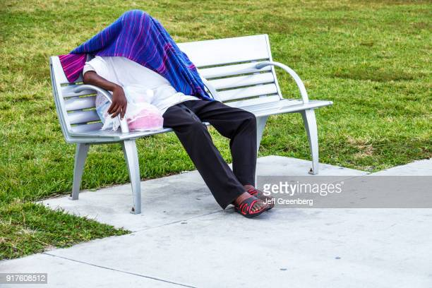 Miami Beach Lummus Park Homeless Person on Bench