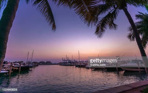 porto turistico di miami beach durante il blocco covid-19 - baia foto e immagini stock