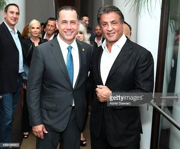 Miami Beach Mayor Philip Levine and Sylvester Stallone attend DuJour Magazine's Jason Binn Celebrates Annual Art Basel Miami Beach KickOff Party at...