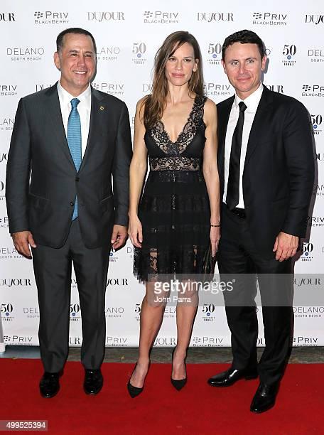 Miami Beach Mayor Philip Levine Hilary Swank and Ruben Torres attend DuJour Magazine's Jason Binn Celebrates Annual Art Basel Miami Beach KickOff...