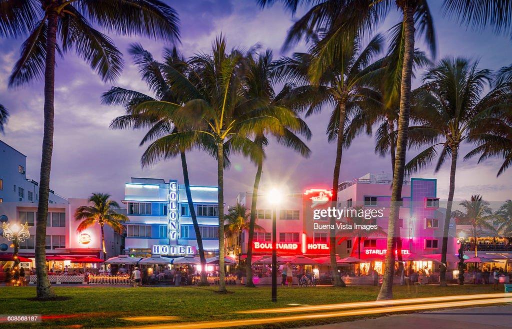 Miami Beach Ocean Drive At Night Stock Photo