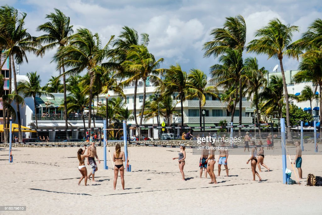 Miami Beach Ocean Drive Lummus Park Volleyball Courts