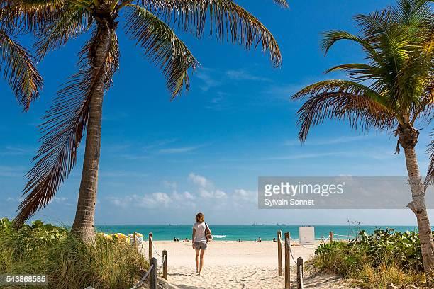 miami, beach of south beach - miami beach stockfoto's en -beelden