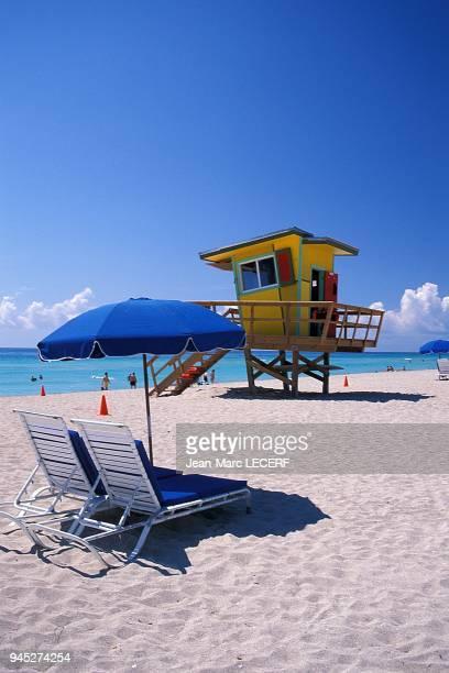 Miami beach plage patrouille de plage poste de surveillance, Floride, USA.