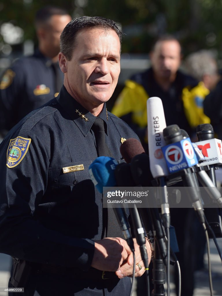 Miami Beach Police Chief Raymond Martinez speaks to the media about the arrest of Justin Bieber on January 23, 2014 in Miami Beach, Florida. Justin Bieber was charged with drunken driving, resisting arrest and driving without a valid license after Miami Beach police found the pop star street racing on Thursday morning.