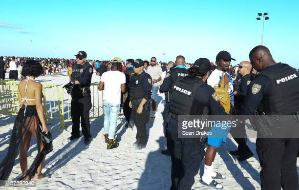 Miami Beach Police Department perform bag checks at one entry to the beach as thousands of college students and nonstudents attend Spring Break...