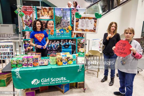 Miami Beach, Publix Grocery Store, Girl Scout's selling cookies.