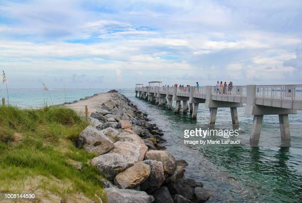 miami beach south pointe park pier and jetty - fauci stock pictures, royalty-free photos & images