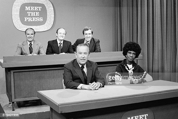 Together before appearing on nationwide TV program Meet the Press are Democratic presidential candidates Senators George McGovern Hubert Humphrey...
