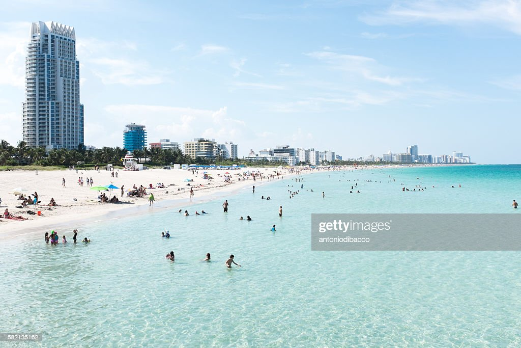 Miami Beach view from pier : Stock Photo