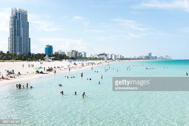 miami beach view from pier - miami beach stock photos and pictures