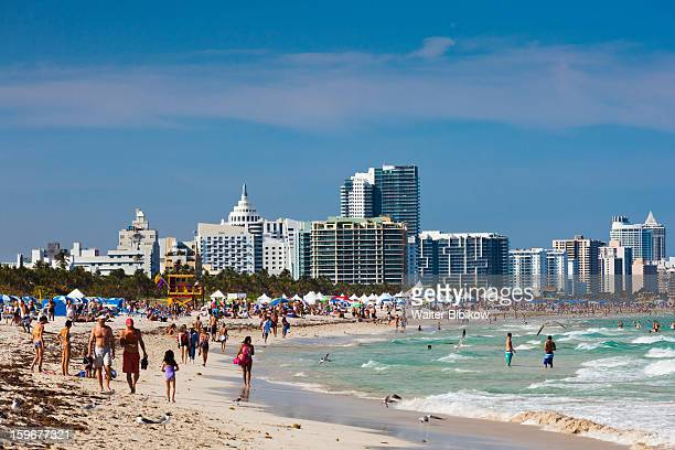 miami beach viewed from south pointe park - miami beach south pointe park stock pictures, royalty-free photos & images