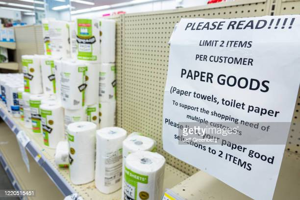 Miami Beach, Walgreens pharmacy, limit 2 per customer on paper products, Ultra Quilted Paper Towels.