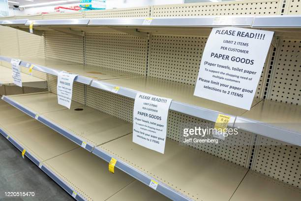 Miami Beach, Walgreens pharmacy, limit 2 per customer on paper products, empty shelves.