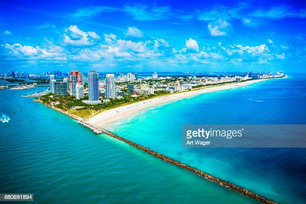 miami beach wide angle aerial view - emerald green stock pictures, royalty-free photos & images