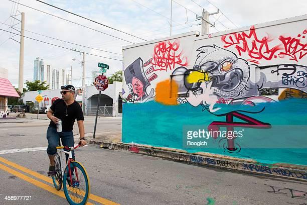 Miami Radfahren Wynwood Street Graffit Wandbild Reiseziel