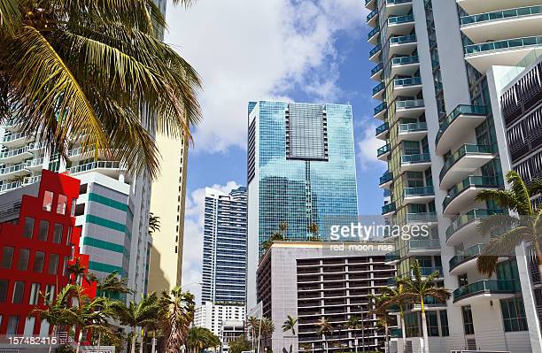 miami brickel highrises - downtown miami stock pictures, royalty-free photos & images
