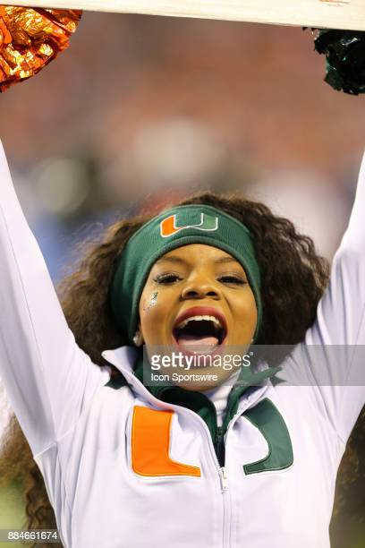 Miami cheerleader during the game between the Clemson Tigers and the Miami Hurricanes on December 2 2017 at Bank of America Stadium Clemson won 383