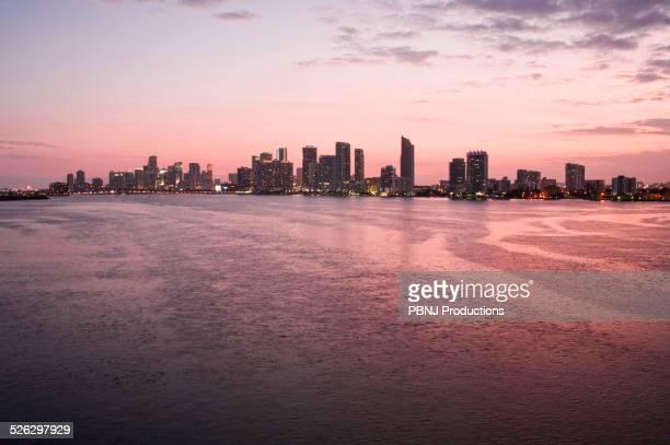 Miami city skyline and harbor at sunset, Florida, United States