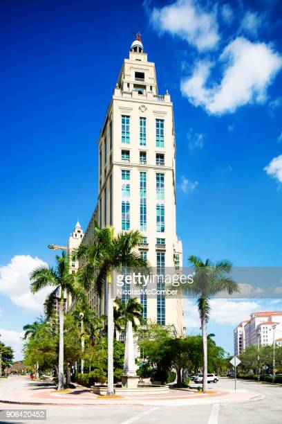 miami coral gables alhambra towers office building and intersection - coral gables stock pictures, royalty-free photos & images