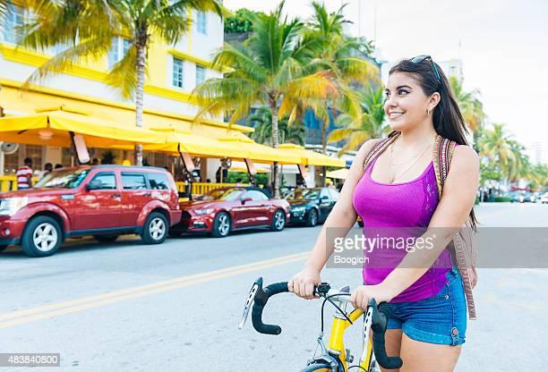 Miami Cuban American Woman Bike Riding in South Beach Travel
