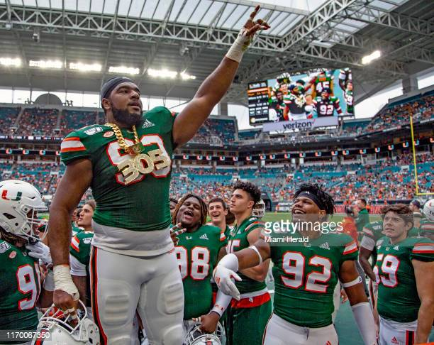 Miami defensive lineman Pat Bethel wears the turnover chain for the second time ever and the first time this season when he recovered a secondquarter...