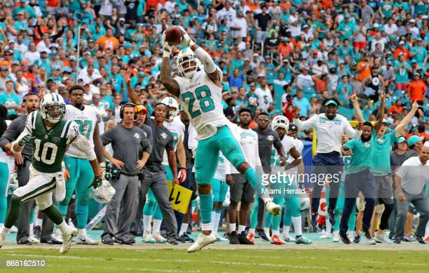 Miami Dolphins' Bobby McCain intercepts the ball late in the fourth quarter to help seal the Dolphins' victory over the New York Jets on Sunday Oct...