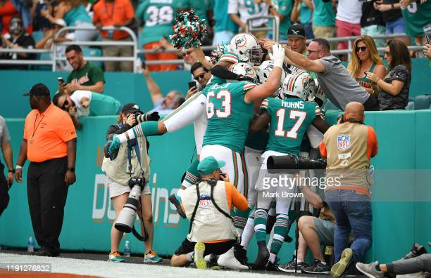 Miami Dolphins celebrate the touchdown by DeVante Parker against the Philadelphia Eagles in the first quarter at Hard Rock Stadium on December 01...