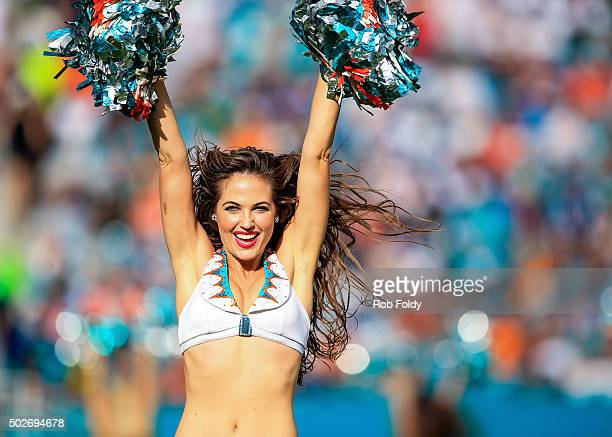 Miami Dolphins cheerleader Kristan Ann Ware performs during the game against the Indianapolis Colts at Sun Life Stadium on December 27 2015 in Miami...