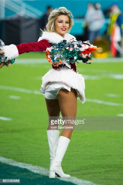 Miami Dolphins Cheerleader perform on the field during the NFL football game between the New England Patriots and the Miami Dolphins on December 11...