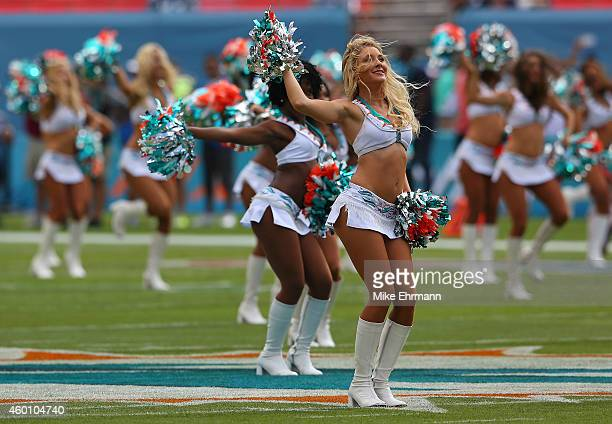 Miami Dolphins cheerleaders perform as the Dolphins met the Baltimore Ravens in a game at Sun Life Stadium on December 7 2014 in Miami Gardens Florida