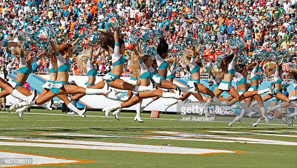 Miami Dolphins cheerleaders perform as the Dolphins met the Green Bay Packers during a game at Sun Life Stadium on October 12 2014 in Miami Gardens...