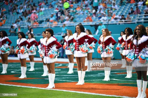 a915ce765 Miami Dolphins cheerleaders perform during the game between the Miami  Dolphins and the Jacksonville Jaguars at