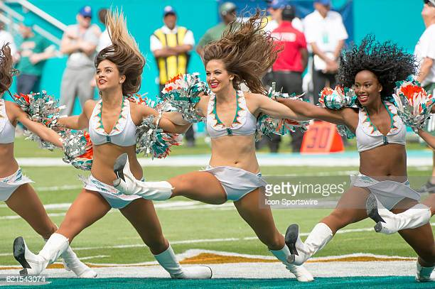 Miami Dolphins cheerleaders perform on the field during the NFL football game between the New York Jets and the Miami Dolphins on November 6 at the...