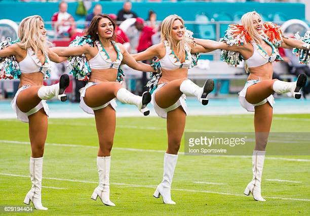Miami Dolphins cheerleaders perform on the field during the NFL football game between the Arizona Cardinals and the Miami Dolphins on December 11 at...