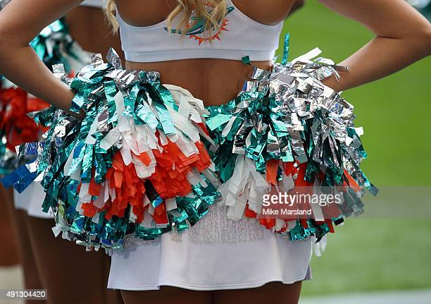 miami dolphins cheerleaders performs at the annual NFL International fixture as the New York Jets compete against the Miami Dolphins at Wembley...