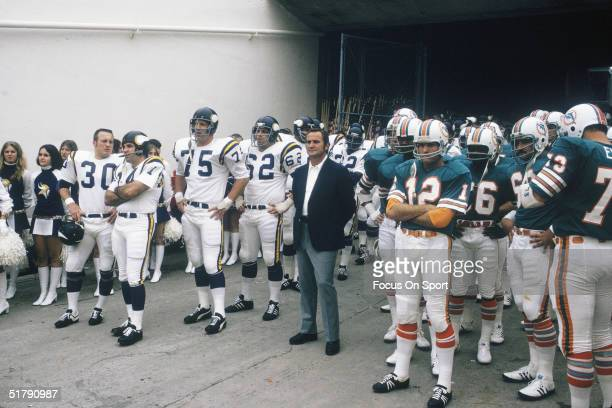 Miami Dolphins coach Don Shula looks to the field and is ready to lead his team into action against the Minnesota Vikings during Superbowl VIII at...