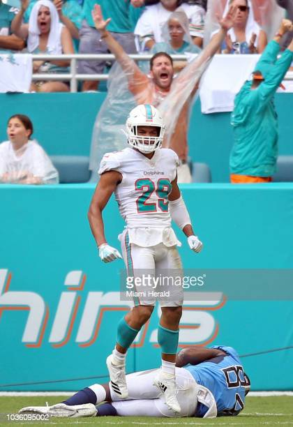 Miami Dolphins defensive back Minkah Fitzpatrick reacts after Tennessee Titans wide receiver Corey Davis is stopped in the redzone on a fourth down...