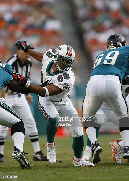 Miami Dolphins defensive end Jason Taylor during the NFL match up between the Miami Dolphins and Jacksonville Jaguars at Dolphin Stadium in Miami...